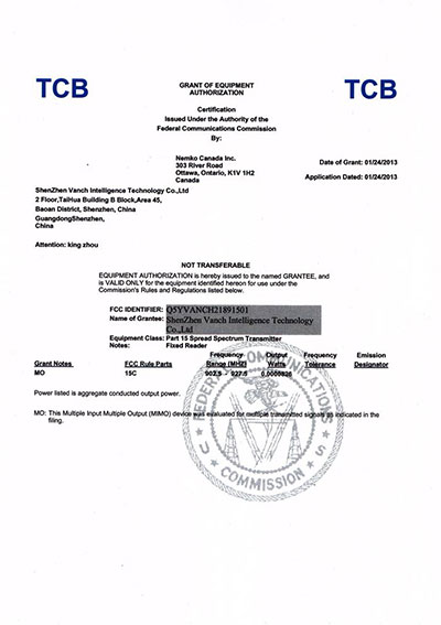 VANCH FCC Certification